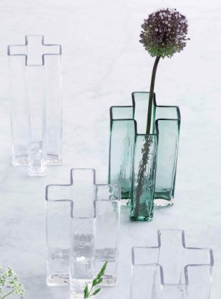 'Crosses' vase clear, large