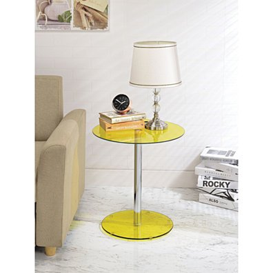 Halley End Table, Yellow Glass & Chrome