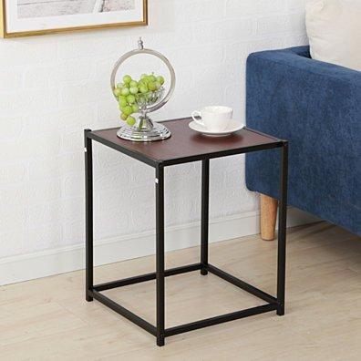 Rustic Iron Frame Wood Grain Veneer Surface Side Table End Table Brown
