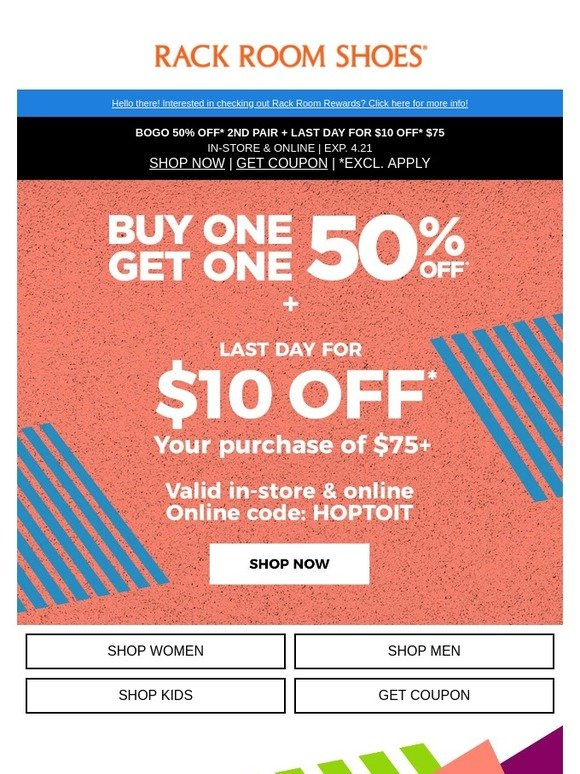 rack room coupon 10 off 75 cheap online