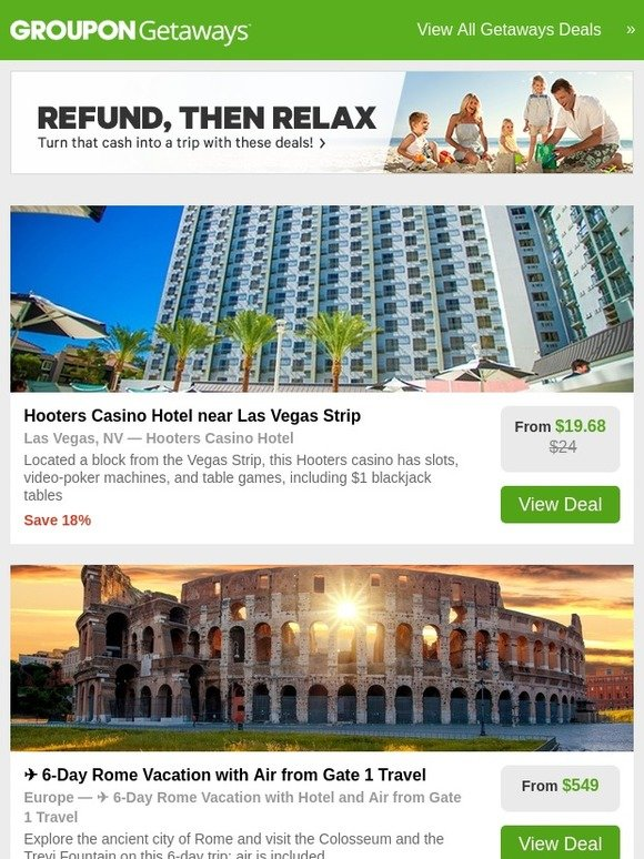 Groupon Se Hooters Casino Hotel In Vegas Rome Vacation With Air