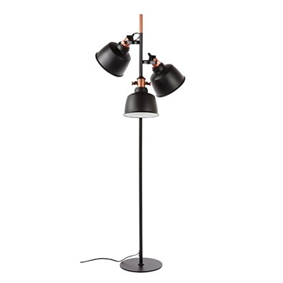 Hentz Three Light Floor Lamp - Matt Black