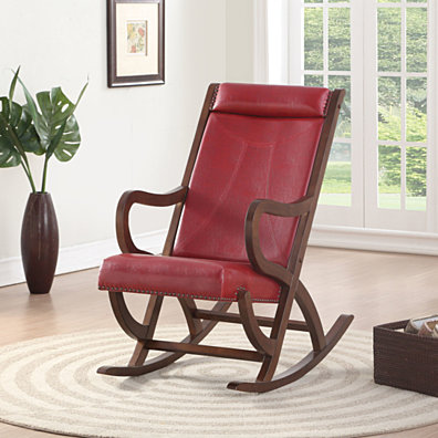 Faux Leather Upholstered Wooden Rocking Chair with Looped Arms, Brown and Red
