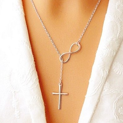 18k Gold, Rose Gold Or Sterling Silver Infinity Cross Lariat Necklace