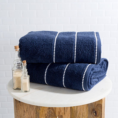 Luxurious Huge 34 x 68 In Cotton Towel Set- 2 Piece Bath Sheet Set Made From 100% Plush Cotton- Quick Dry, Soft and Absorbent Navy