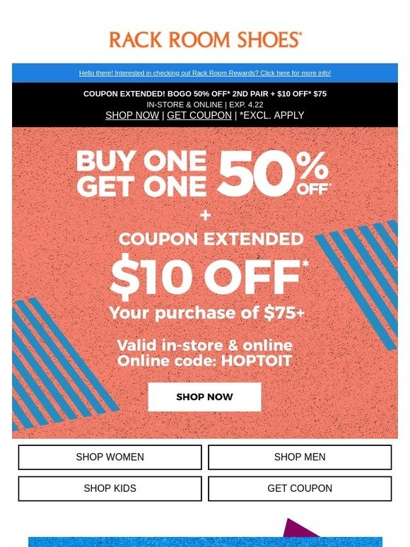 ONE EXTRA DAY to use your $10 coupon