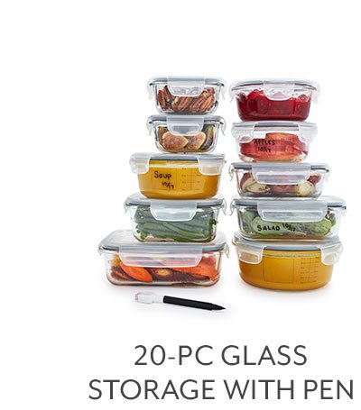 20 Piece Glass with Storage & Pen