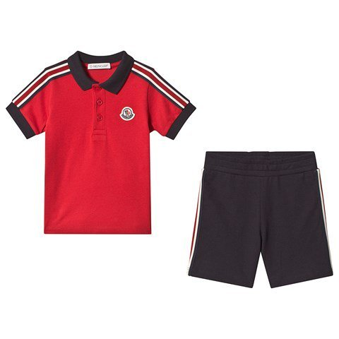 Moncler Red Pique Polo and Shorts Completo Set
