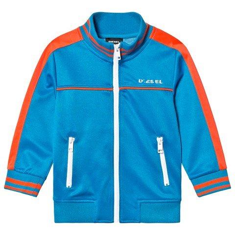 Diesel Blue and Orange Branded Tricot Track Jacket