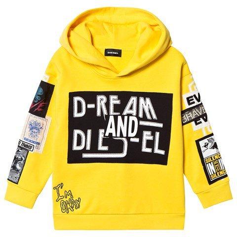 Diesel Yellow Multi Patch Branded Hoodie