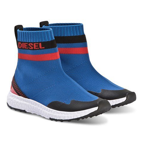 Diesel Blue and Red Knit Trainers