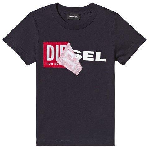 Diesel Navy Double Logo Applique T-Shirt