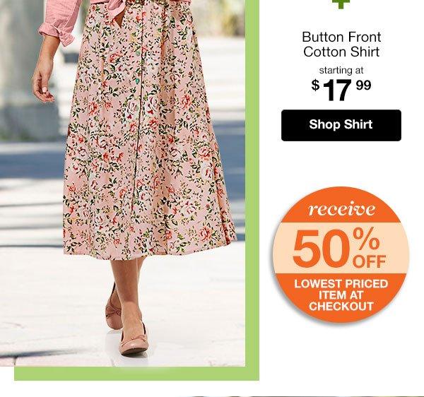 Shop Women's Button Front Cotton Shirt!
