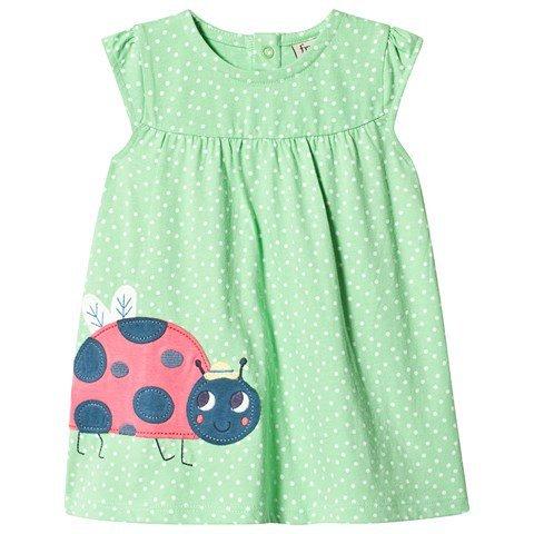 Frugi Green Little Lola Ladybird Dress