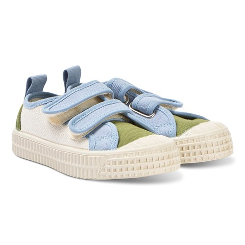 Novesta Blue and Green Star Master Velcro Kid Trainers