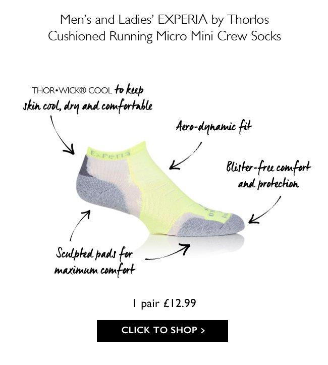 Mens /& Ladies 1 Pair Experia By Thorlos Cushioned Running Micro Mini Crew Socks