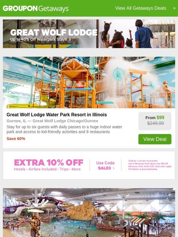 Groupon SE: Great Wolf Lodge + Extra 10% Off Your Next
