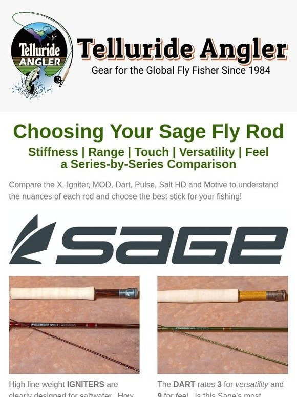 a16f44d3 Telluride Angler: Choose your Sage Fly Rod: compare stiffness, range,  touch, versatility and feel   Milled