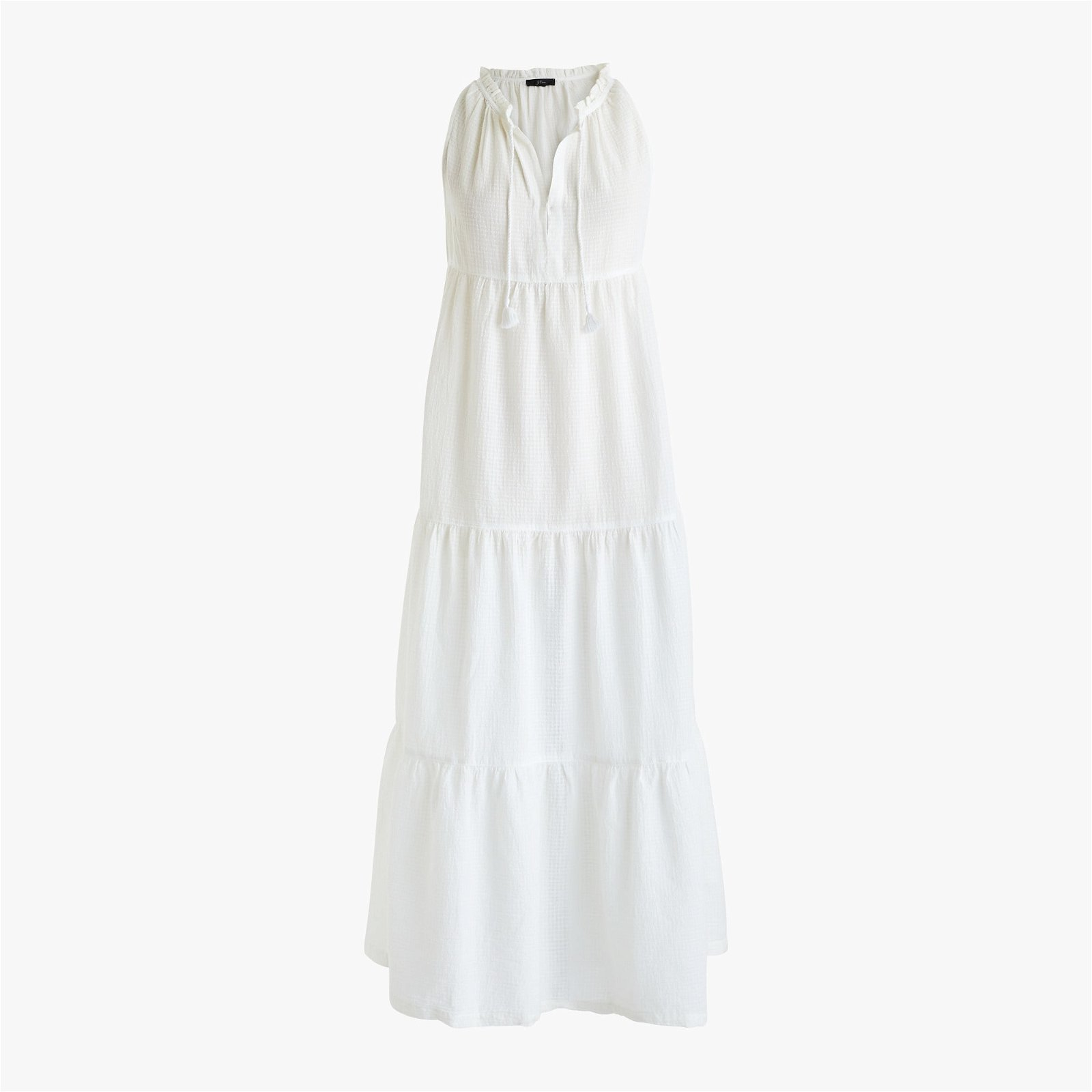 Tiered maxi beach dress in crinkle cotton