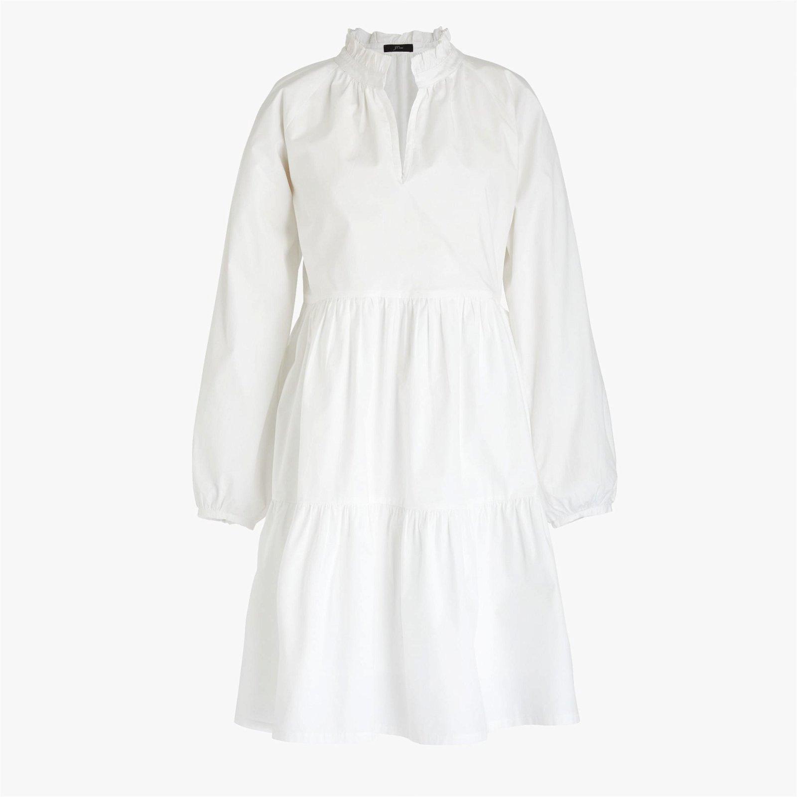 Petite tiered popover dress in cotton poplin