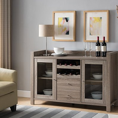 Wooden Buffet With 2 Drawers, Dark Taupe Brown