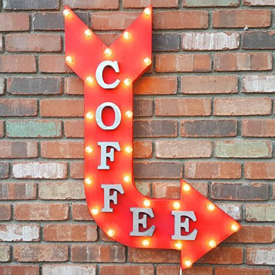 COFFEE Rustic Metal Curved Arrow Marquee Bean Java Espresso Bar Cafe Restaurant Diner Sign - 14 Colors!