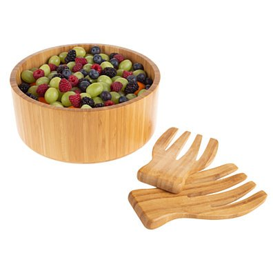 Bamboo Salad Bowl with Utensils FDA Certified Modern Round Wooden Dinnerware Serving Fruit Bowl 10 Inch