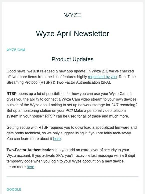 WyzeCam: April Newsletter | Milled