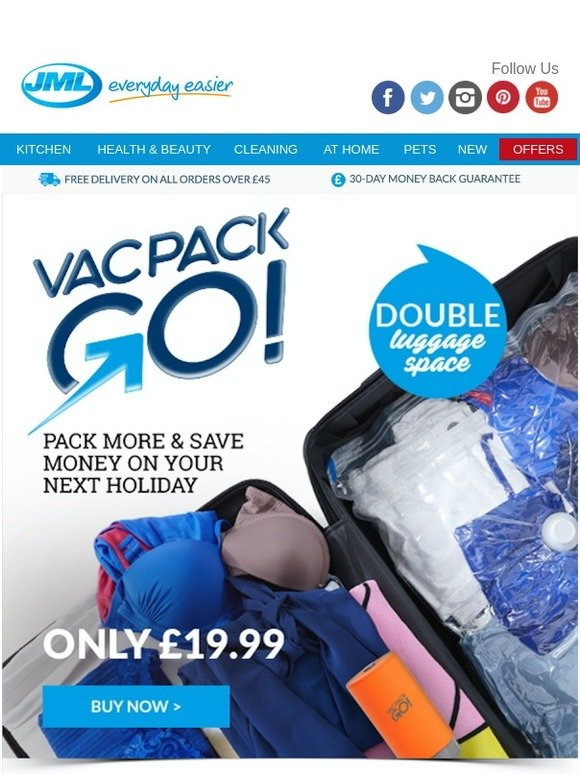 2d12f0af8572 JML Direct: Double luggage space with VacPack GO! | Milled