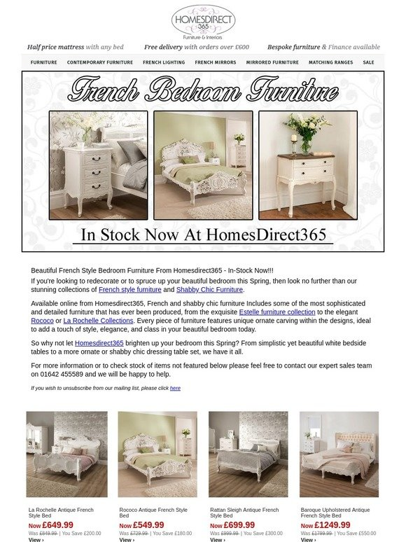 a8f897de21 Homes Direct 365: Beautiful French Style Bedroom Furniture From  Homesdirect365 - In-Stock Now!!!   Milled
