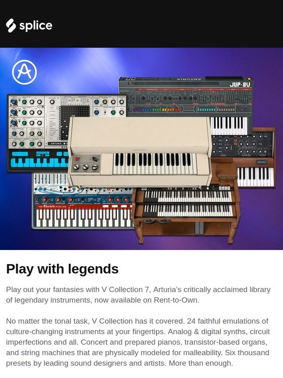 Splice: New on Rent-to-Own: Arturia V Collection 7 | Milled