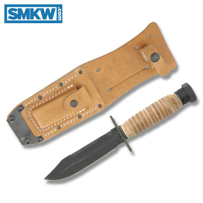 "ONTARIO 499 US MILITARY ISSUE SURVIVAL KNIFE WITH STACKED LEATHER HANDLE AND ZINC PHOSPHATE COATED 1095 CARBON STEEL 5"" CLIP POINT PLAIN EDGE BLADE WITH BROWN LEATHER SHEATH MODEL 499"
