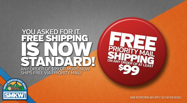Free Priority Mail Shipping on any order $99 or more!