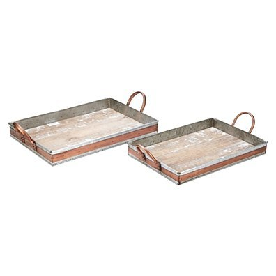 Wood and Metal Rectangular Serving Trays, Gray and Copper, Set of Two
