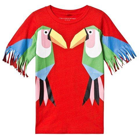 Stella McCartney Kids Red Toucan Fringe Sleeve T-Shirt Dress