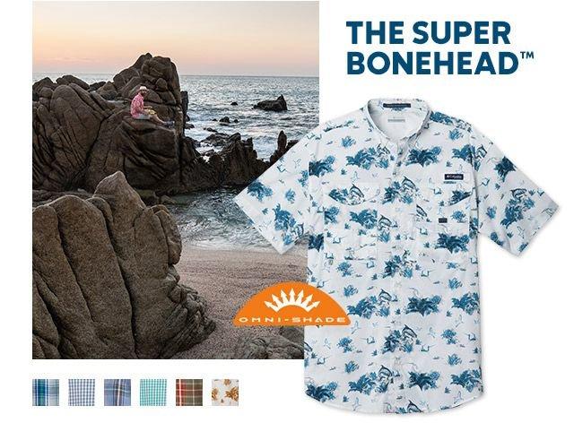 A man in a Bonehead shirt on the beach, Omni-Shade tech logo.