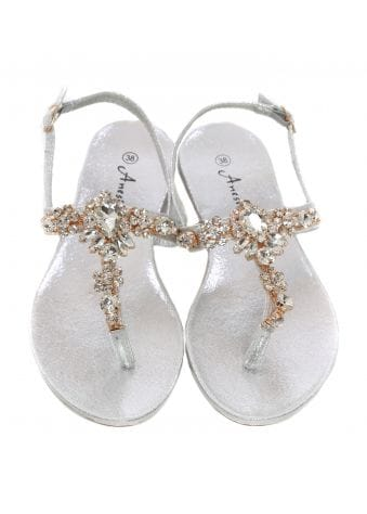 Silver Crystal Toe Post Sandals
