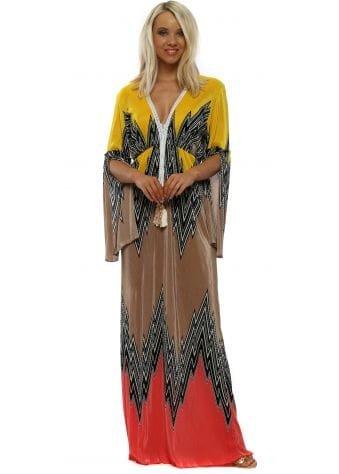 Yellow & Coral Zig Zag Pleated Maxi Dress
