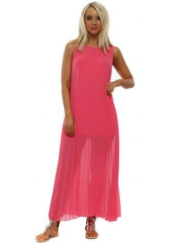 Neon Pink Pleated Sleeveless Maxi Dress