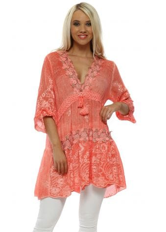 Orange Cotton Floral Lace Tunic Top