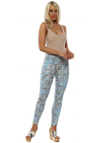 Baby Blue Floral Print Stretch Fit Jeans