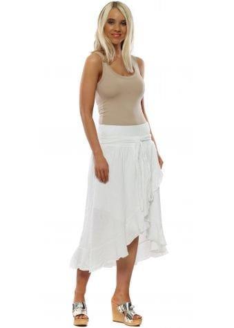 White Linen Ruffle Skirt