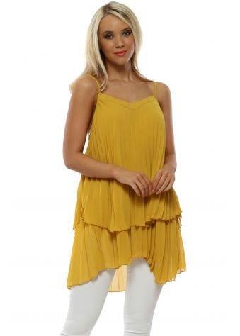 Mustard Pleated Asymmetric Chiffon Vest