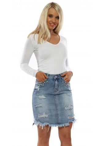 Distressed Denim Skirt With Pearls