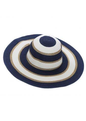Navy & White Striped Floppy Straw Hat