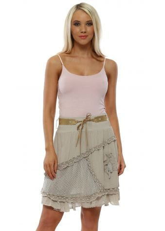 Beige Cotton Belted Mini Skirt