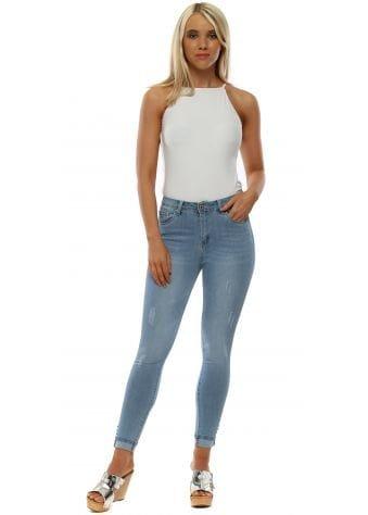 Blue Stretch Fit Distressed Skinny Jeans