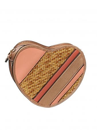 Pink Striped Mini Heart Bag