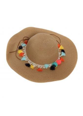 Tan Tassel & Pom Pom Straw Hat