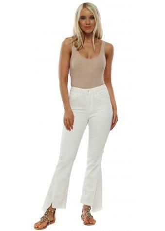 White Split Flared High Waist Jeans